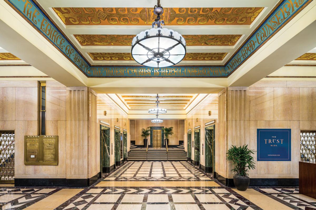 travertine stone, 1928 Trust Building lobby, Art Deco lobby