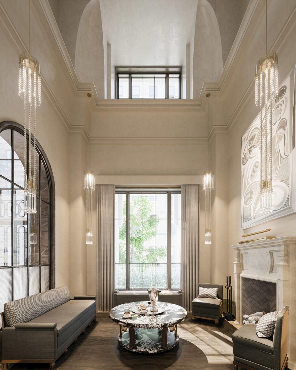 Beckford Tower's reception room speaks of old-world elegance.