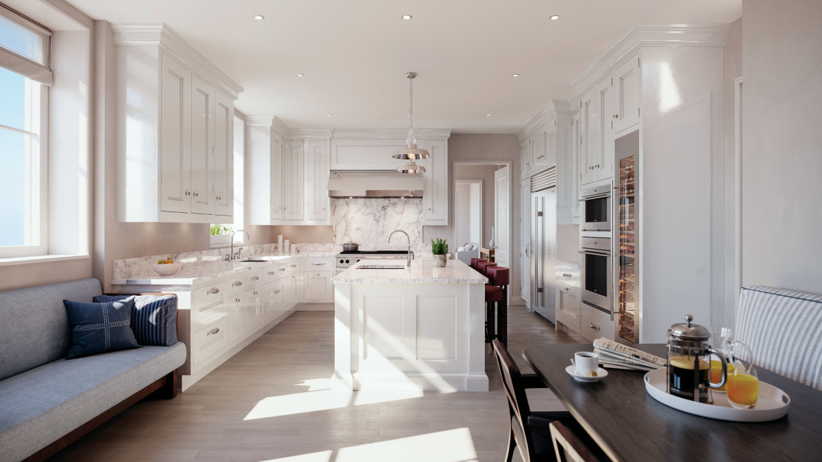 Beckford House & Tower feature eat-in kitchens with Christopher Peacock cabinetry and marble-slab countertops.