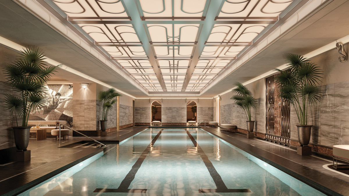 There's a 65-foot indoor swimming pool in Beckford Tower.