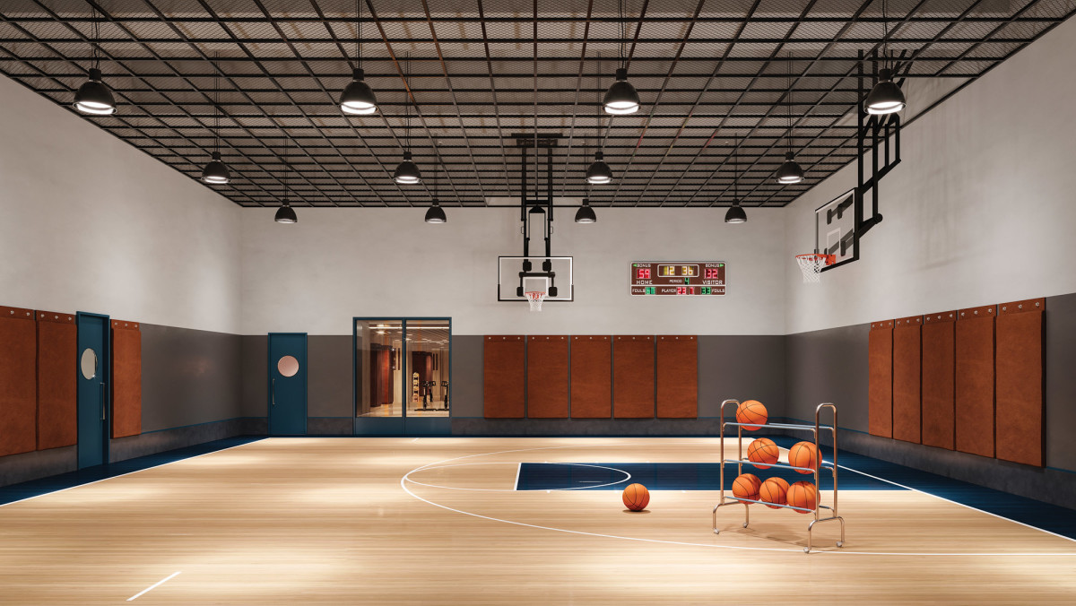 Beckford Tower's more than 3,000 square feet of amenities include a double-height basketball half-court.