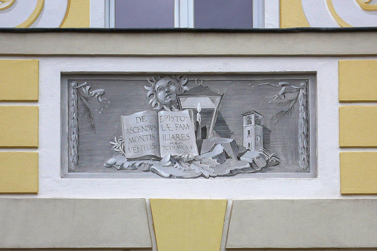 fresco with the school crest