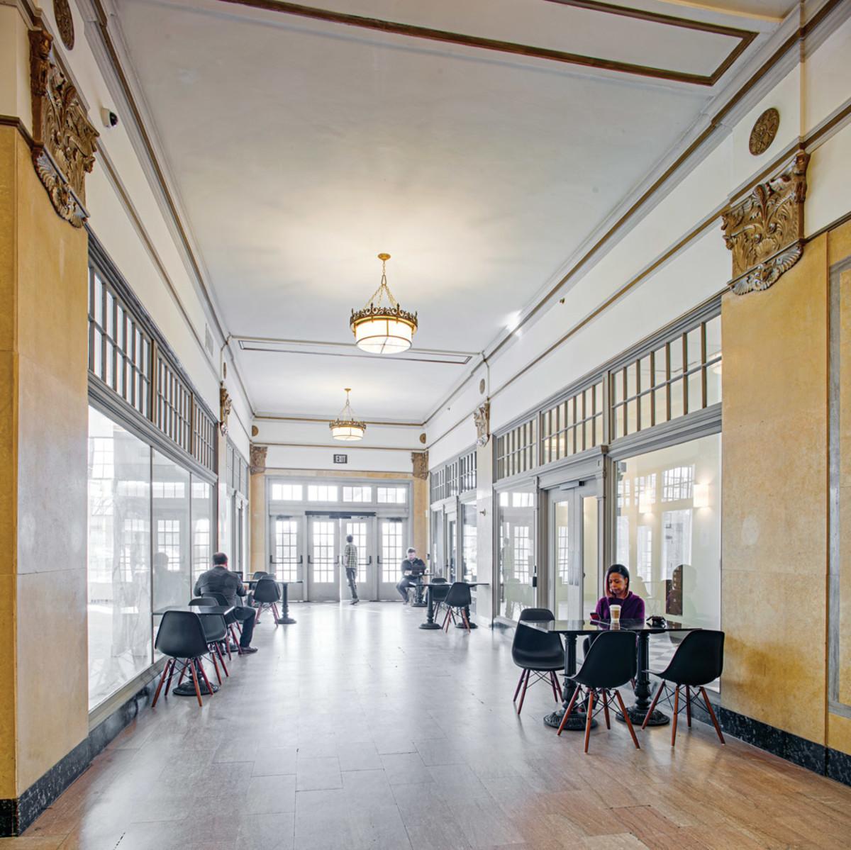 Montgomery Building interior, period hallway