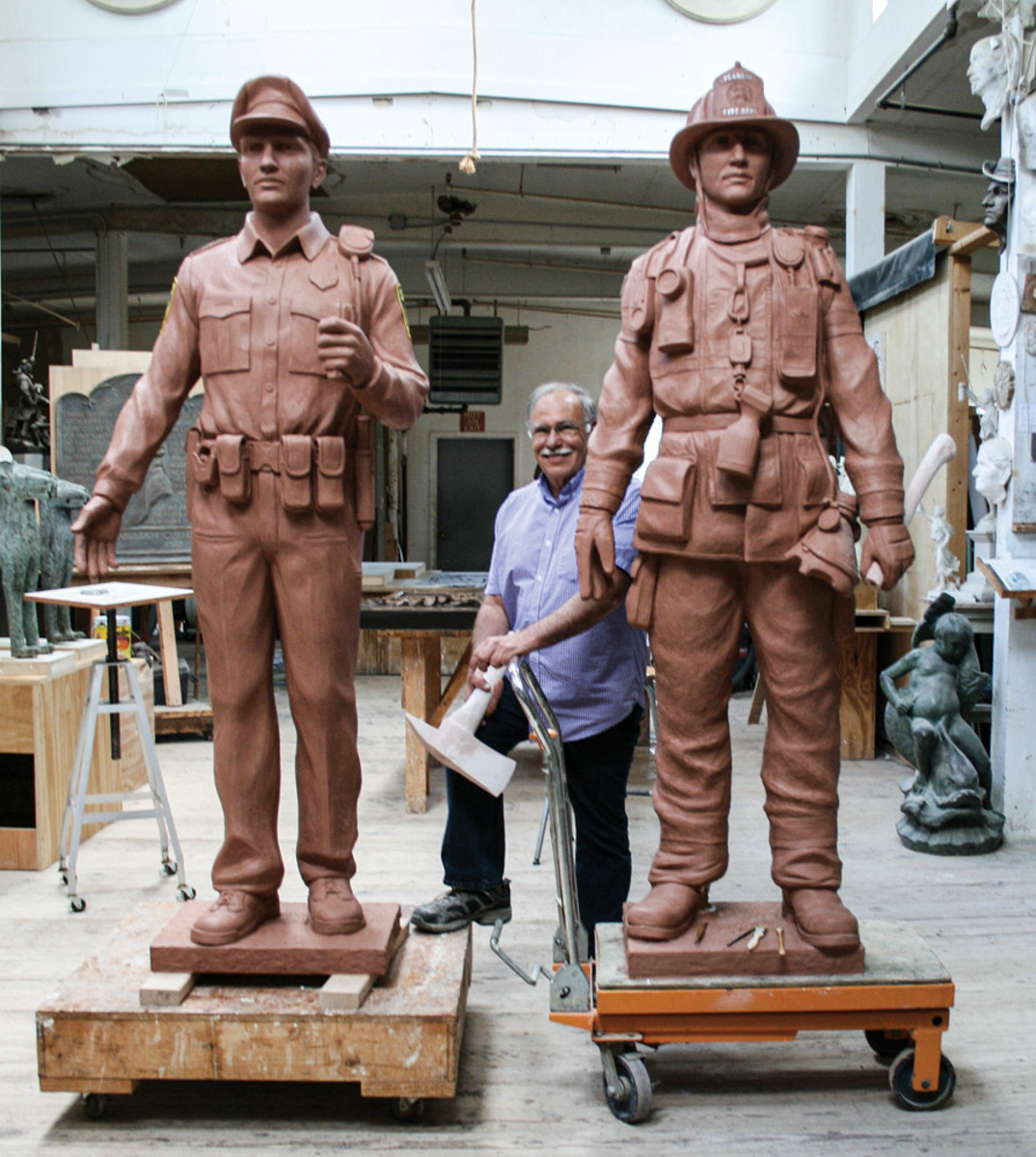 Robert Shure sculpting, sculpted memorial