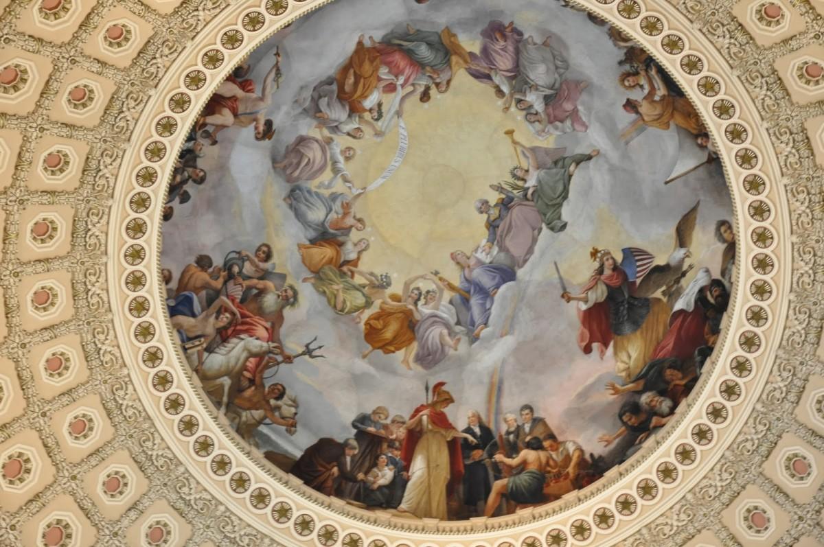 Constantino Brumidi, dome interior, U. S. Capitol, 1865