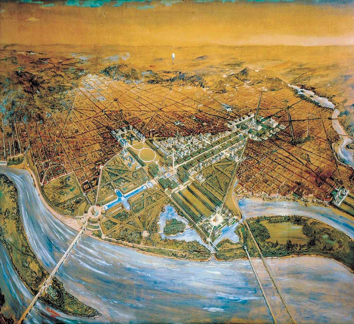 Aerial view of the McMillan Plan for Washington D.C.
