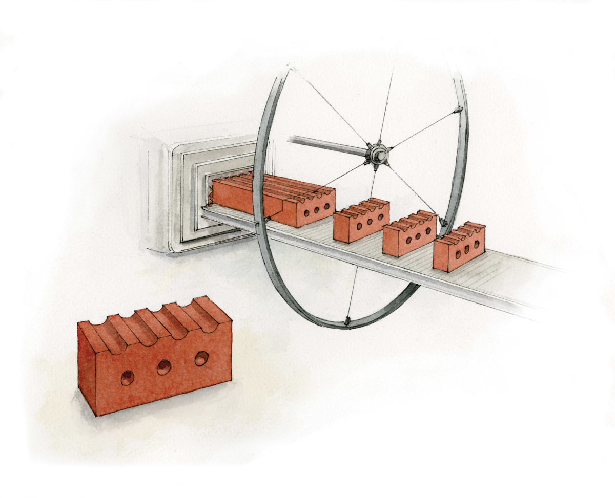 wire cut brick illustration