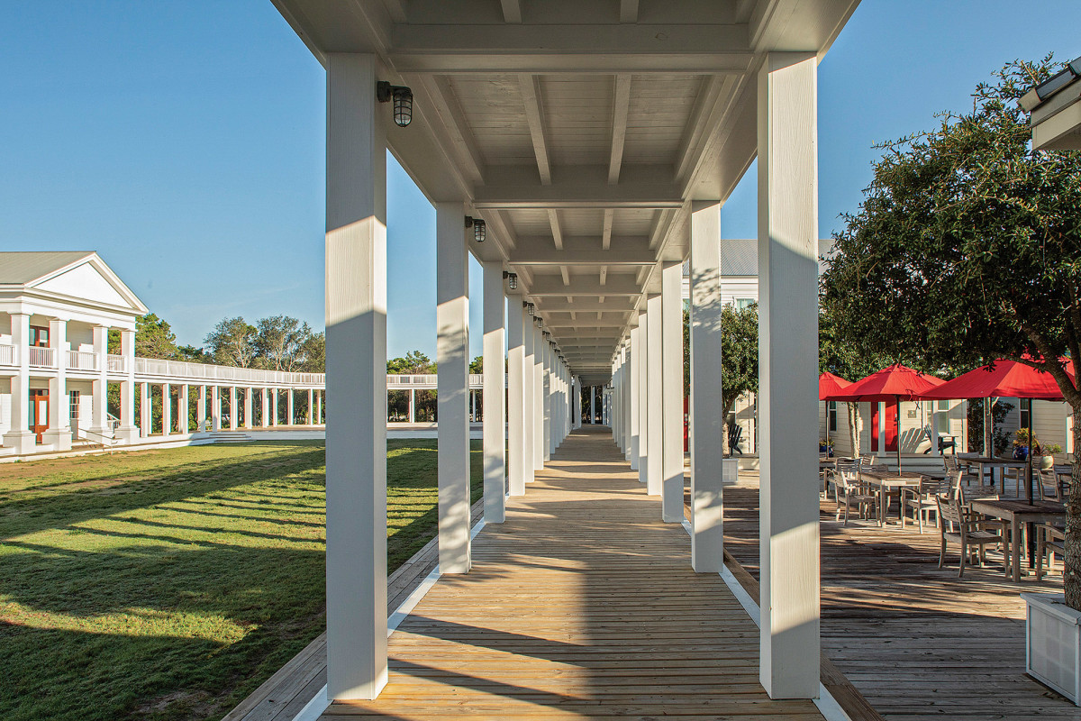 The colonnade separating the Lyceum lawn from the Academic Village.