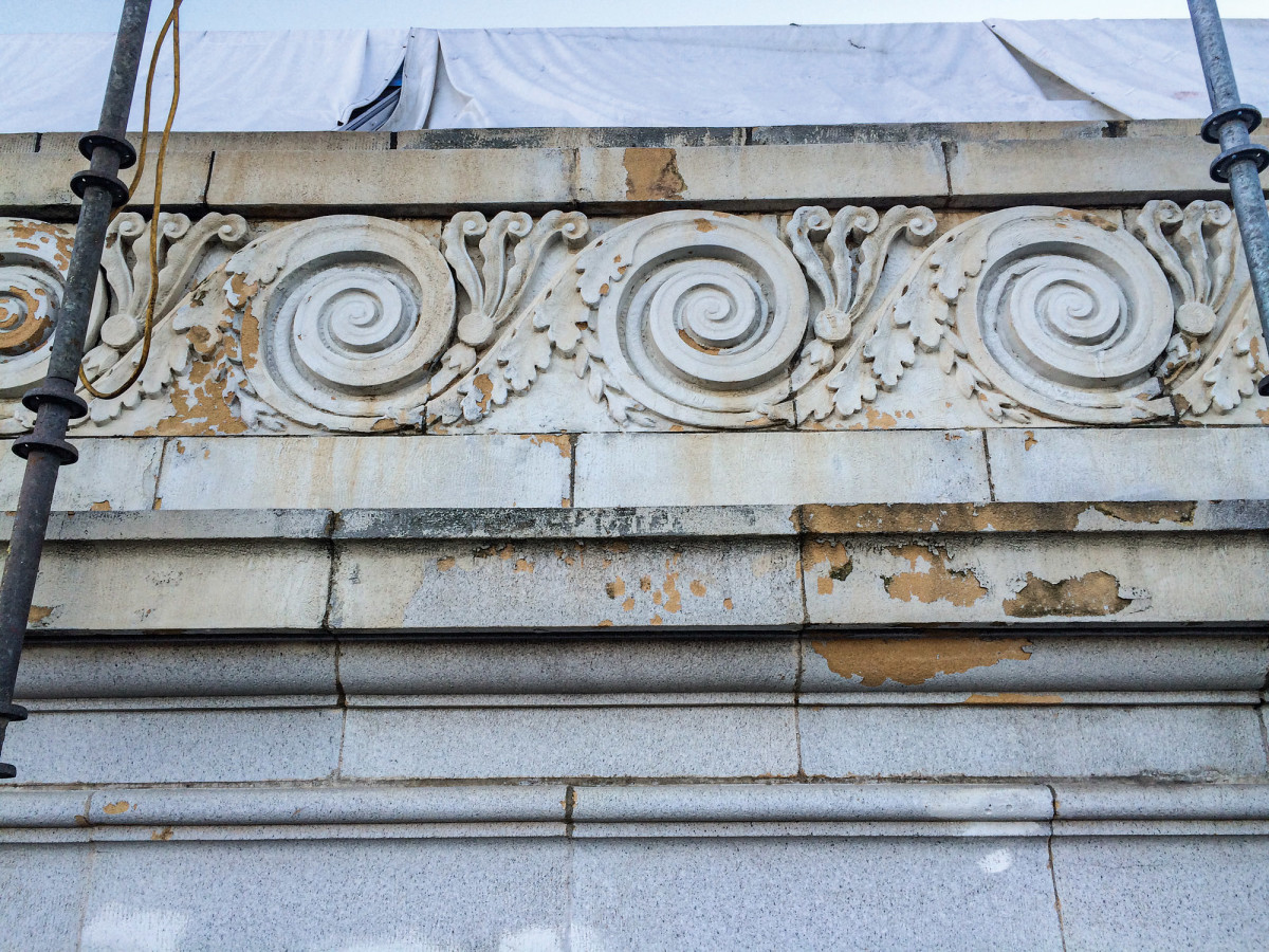 Lewis also repaired the glaze and bisque spalls in the original terra cotta.