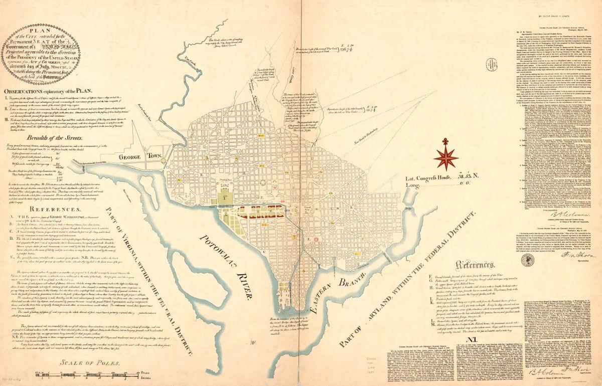 L'Enfant et al Plan for Washington, 1792