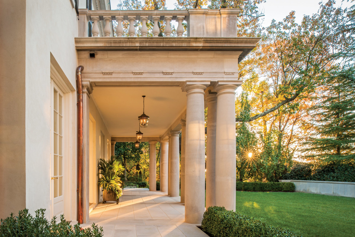 The design of the columned back porch is based on historical sources.