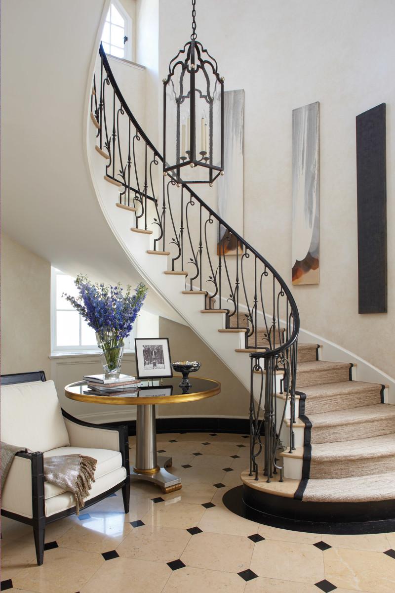 Historic Estate entryway, spiral staircase, Ferguson & Shamamian Architects