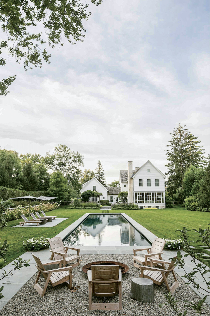 farmhouse-style home, backyard pool, Janice Parker Landscape Architects