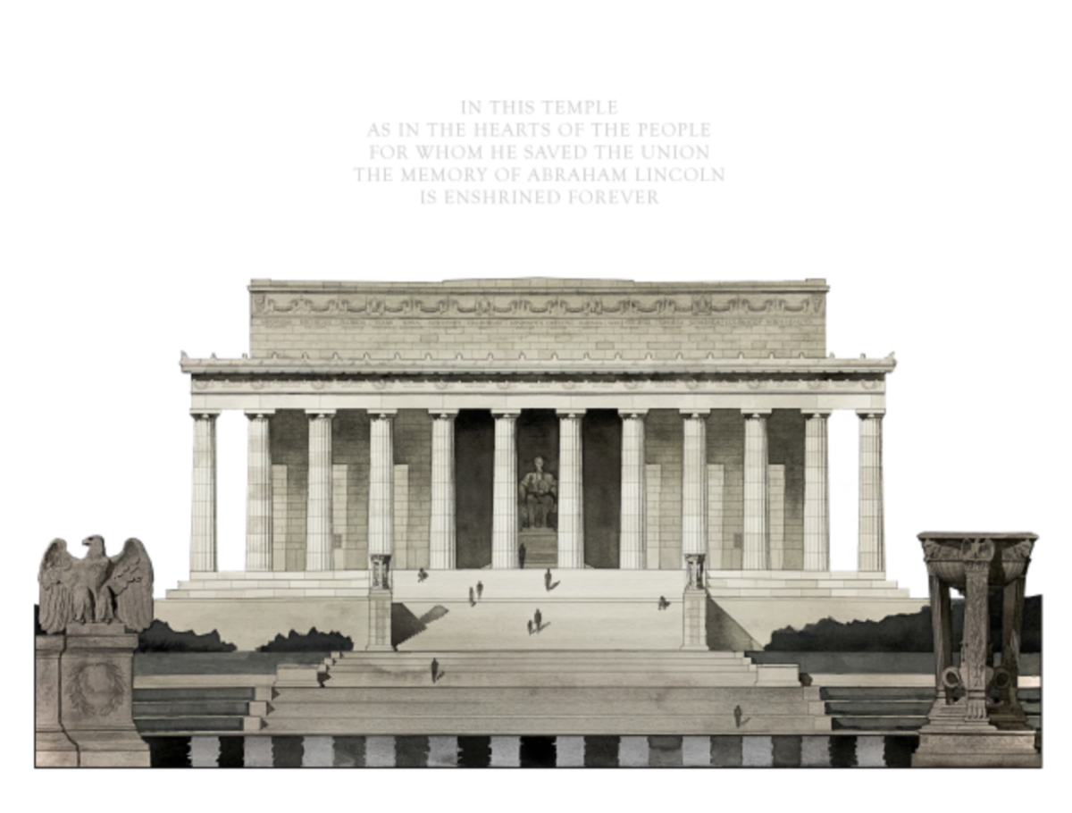2021 Emerging Classicist Drawing WinnerLincoln Memorialas painted by Patrick Suarez