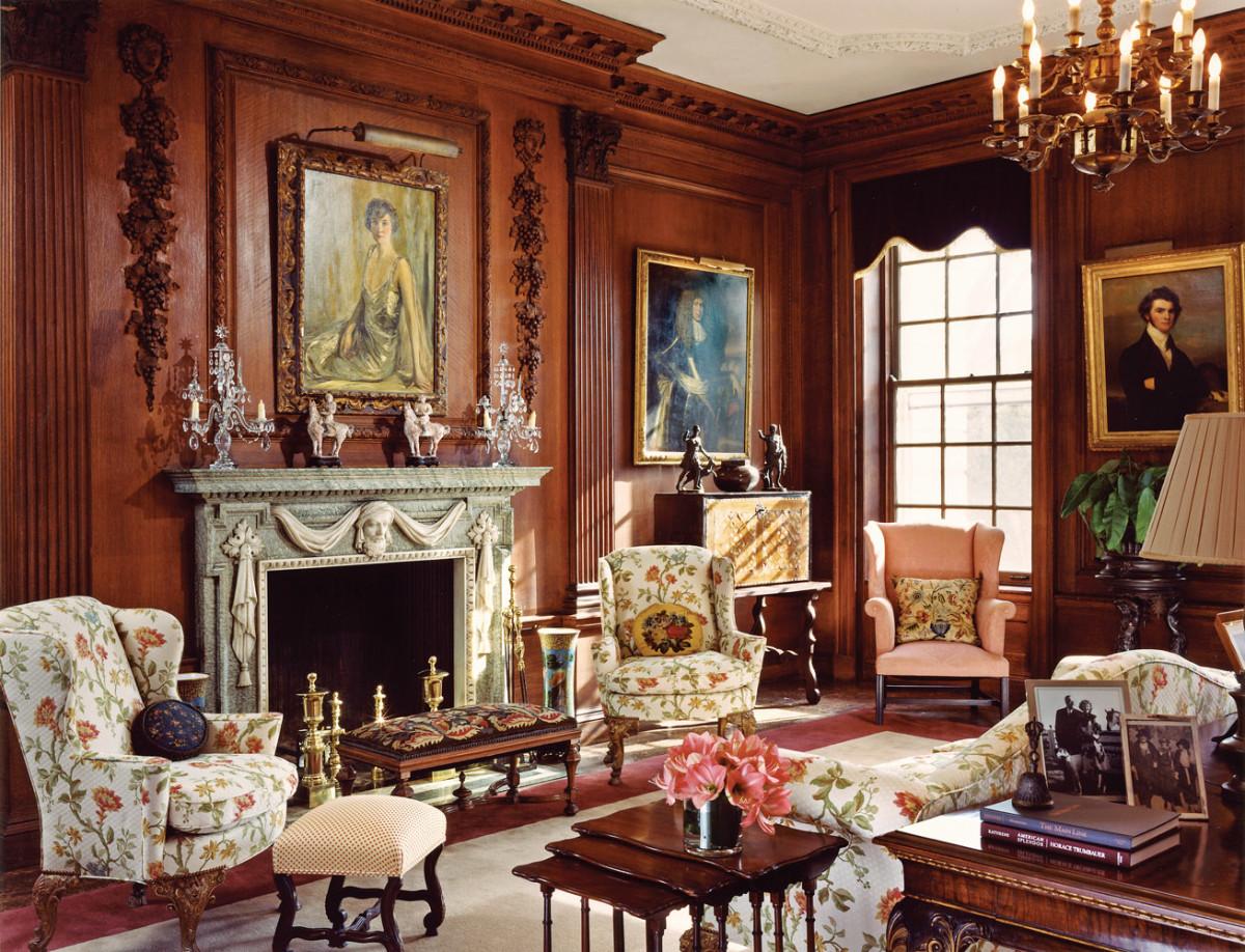 Ardrossan living room, 1912, Horace Trumbauer