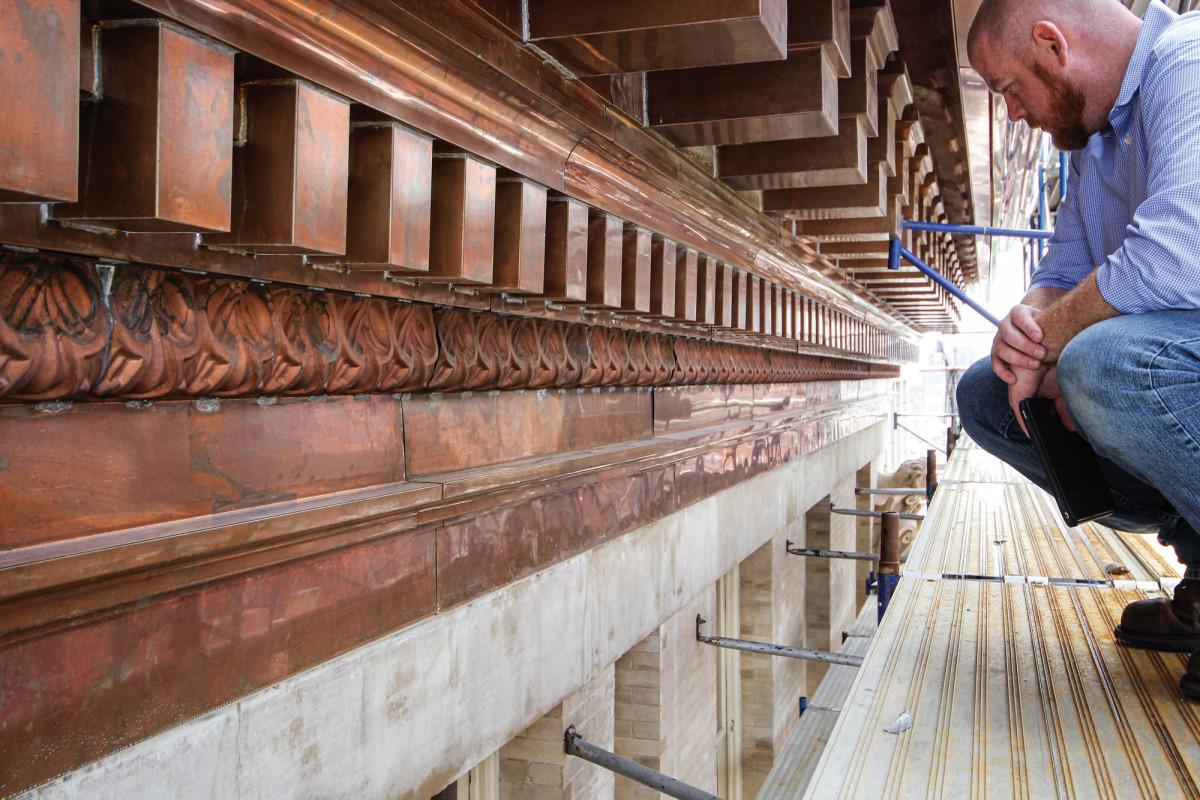 The Hadrian, copper cornice