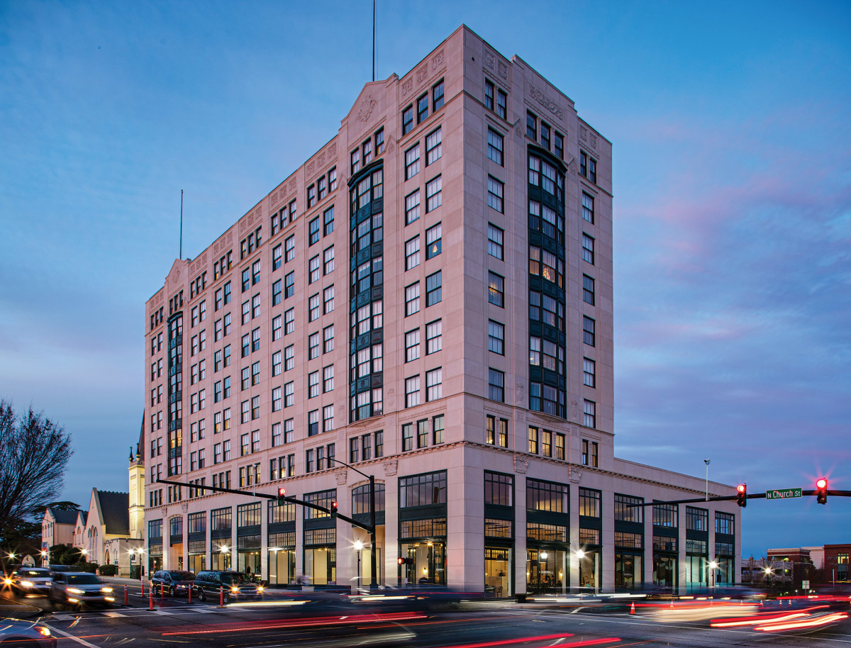 The 1924 Montgomery Building has been restored inside and out and has been transformed into an office, retail, and residential complex.