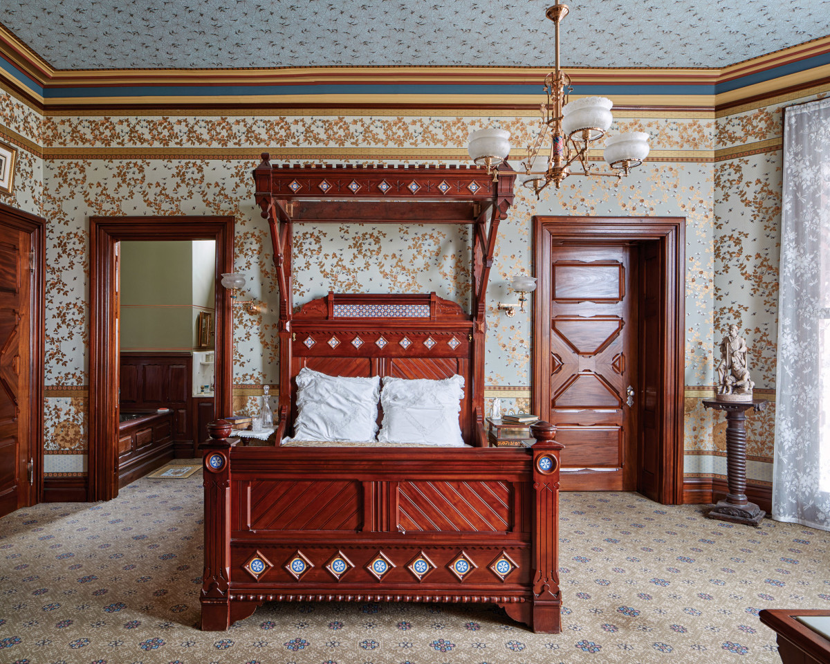 Research showed the room was papered with Candace Wheeler patterns including Bees and Honeycomb on the walls and Spider Web on the ceiling.