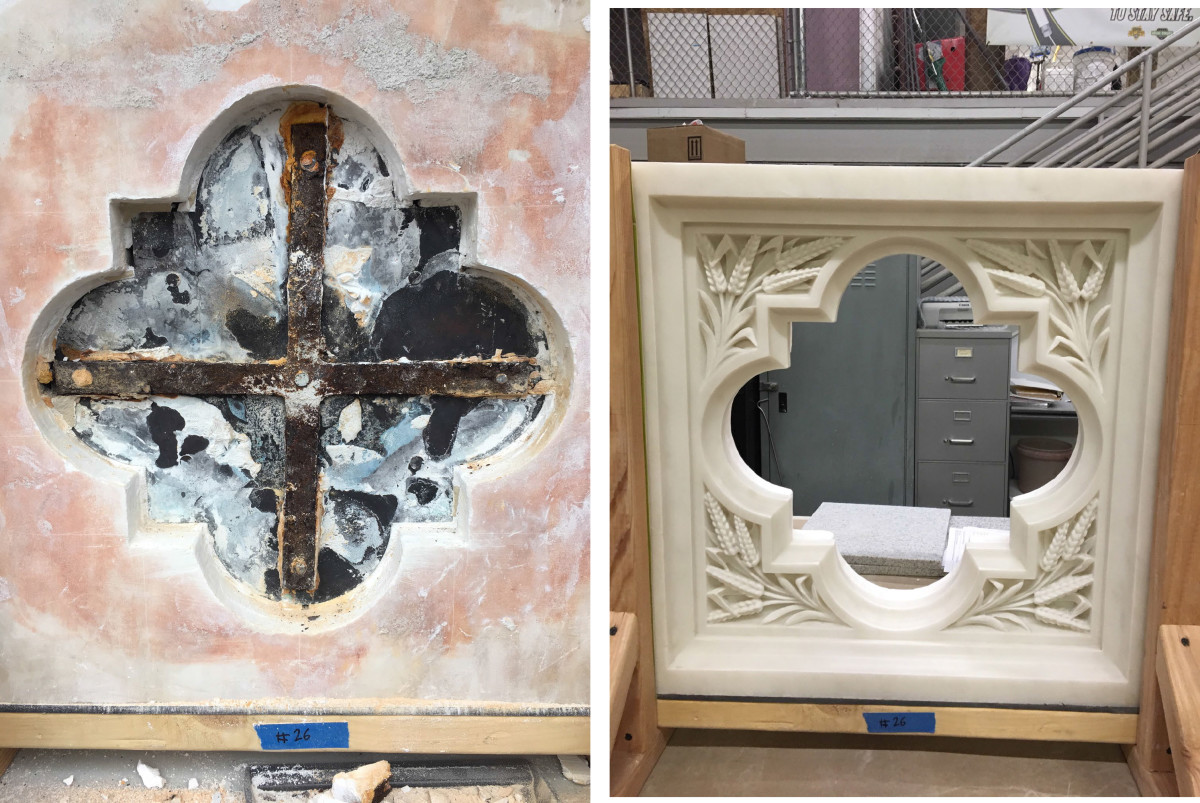 Before and after Rugo Stone's restoration