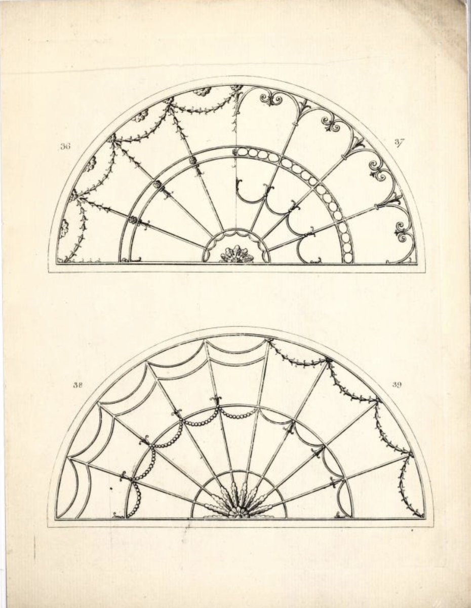 The oldest BTHL document to features windows is one of the very few documents from the 18th century. Decorative transom fan lights were a notable feature of the front entry for 18th and early 19th century houses in both England and America.