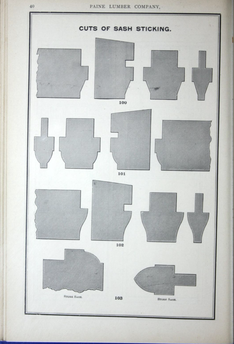 """Wood windows and window moldings were standard items from millwork companies and local lumber yards by the mid-19th century. Full windows and frames were an early building component to be """"factory made"""" rather than assembled on site. The Paine Lumber Co. catalog from 1893 is typical this era. This catalog was published by Rand McNally & Co. and issued by many local lumber yards, which indicates a national standardization of millwork materials."""