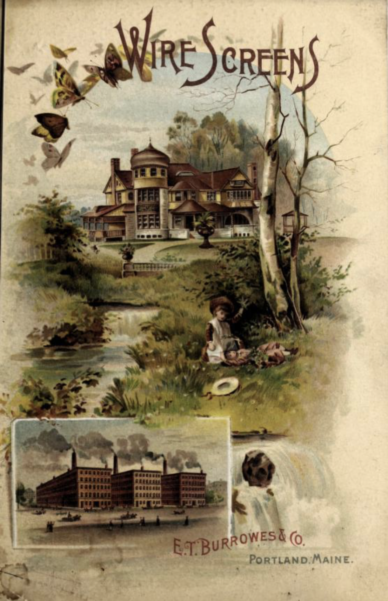 The use of window screens to keep insects out of the house was a great advancement in home comfort and sanitation. The Burrowes company claimed to be the largest manufacturer of window screens in the world. This 1890s catalog featured window screens and screen doors with a variety of screen materials.