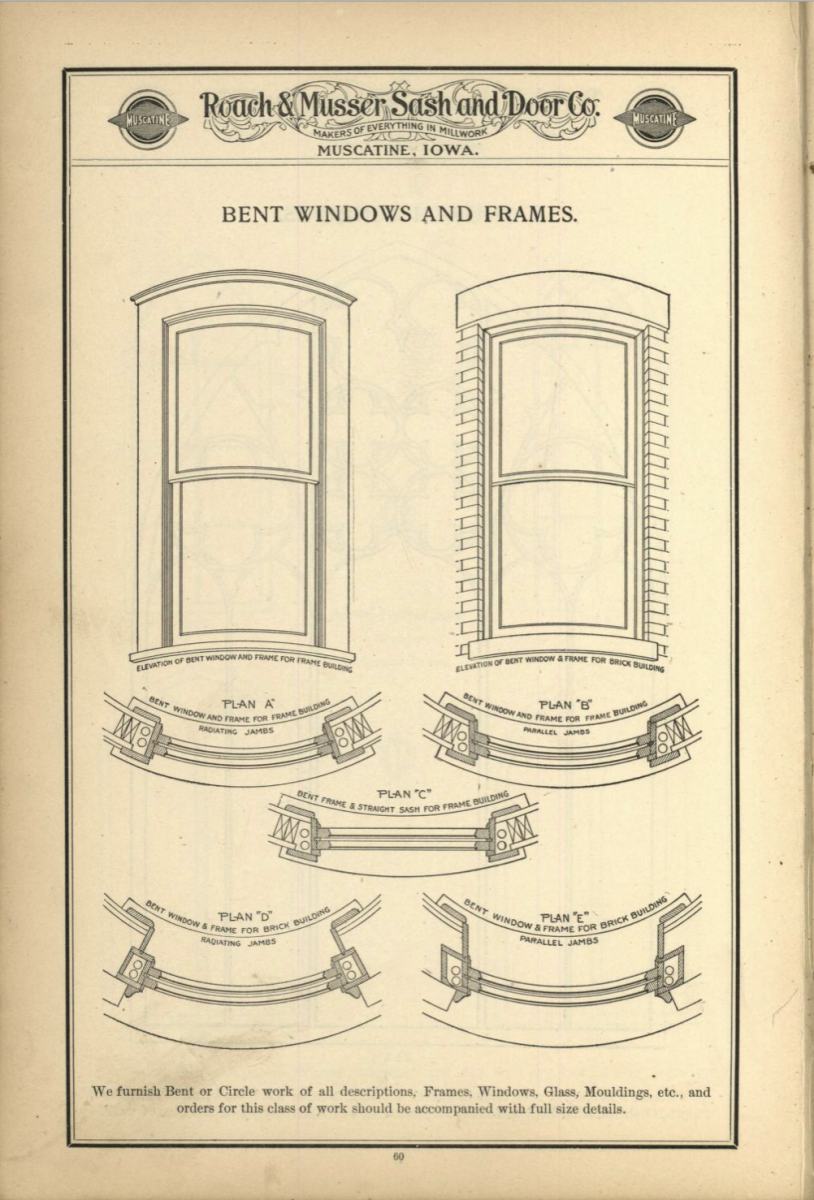 """This extensive catalog featured basic double hung windows with lots of variations of designs. Arch top windows, bowed windows and """"stained glass"""" were but three of many available variations of the double-hung window."""