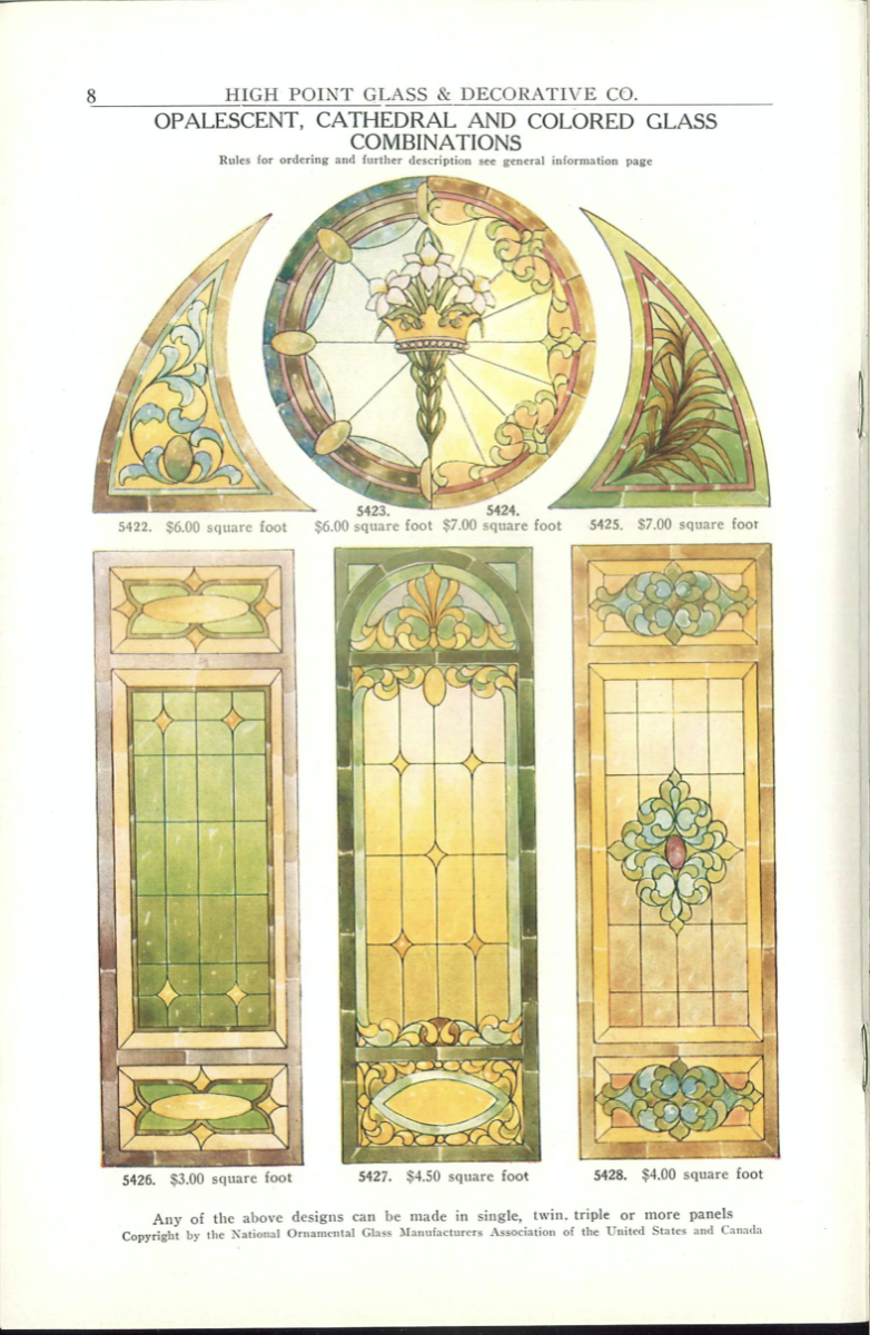 """The use of """"art glass"""" or """"stained glass"""" is usually associated with religious buildings, but art glass was also popular in residential architecture in the late 19th and early 20th century.  This trade association catalog features numerous glass designs in full color."""
