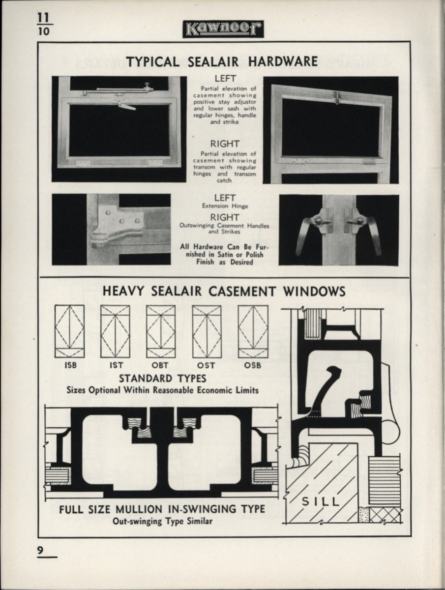 The Kawneer Company was one of the first to produce aluminum windows, starting in the 1930s. The Kawneer company got its start with metal storefronts at the beginning of the 20th century and later expanded into metal windows and curtain walls. This catalog featured both double hung and casement windows, with thin aluminum sections that were similar to profiles used in steel windows.