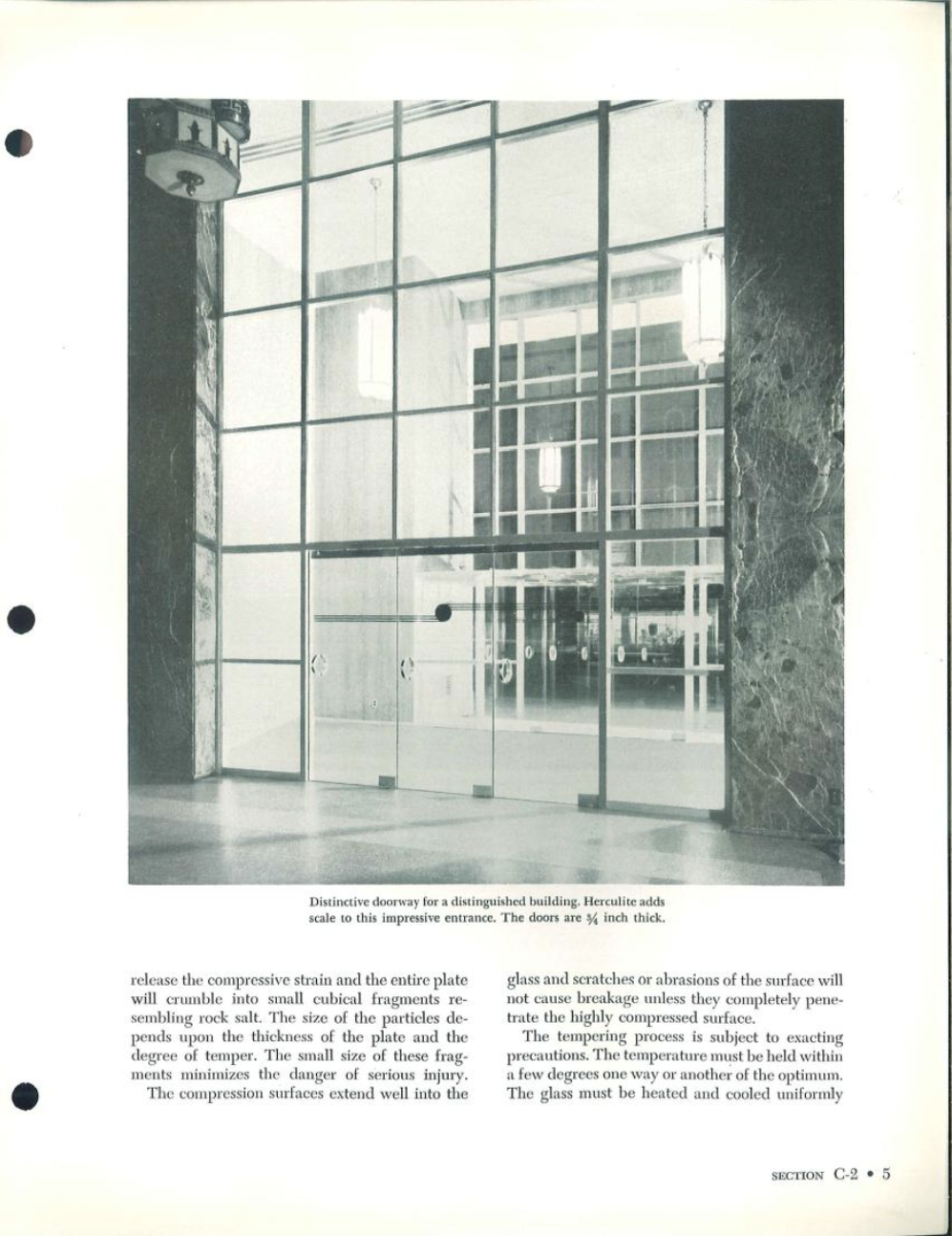 This dealer's manual from the Pittsburgh Plate Glass Company (PPG) starts with a history of glass making and a brief corporate history. This is one of the most comprehensive documents on glass products in the BTHL. There are technical and performance details for the full range of PPG glass and storefront products, including laminated and tempered glass, two major improvements is glass safety.