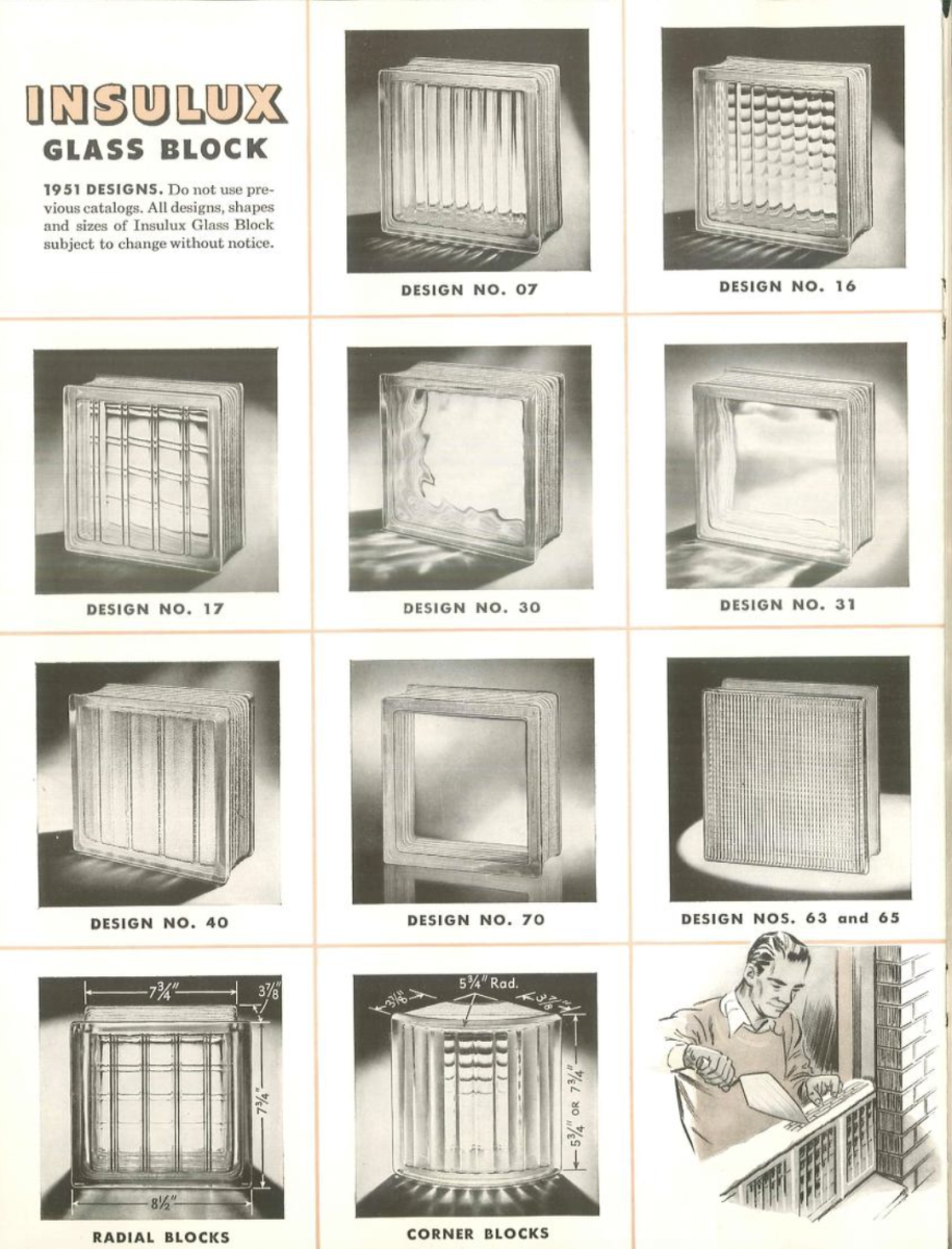 Glass block became very popular in the 1930s and quickly found a place in commercial, industrial and residential applications. The small catalog featured its use in residential applications. There were eight different square block patterns as well as curved units.