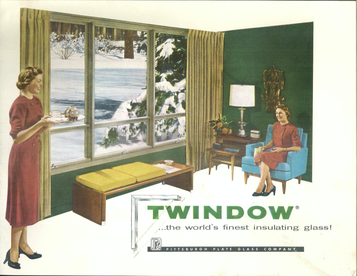 Insulating glass is twentieth century innovation that started in the 1930s but didn't really enter the mass market until after WWII. Twindow was the propriety name for insulated glass from the Pittsburgh Plate Glass Co. This catalog featured mostly residential applications. There is one technical table that shows a 50% reduction in heat transfer when compared to single glazing.