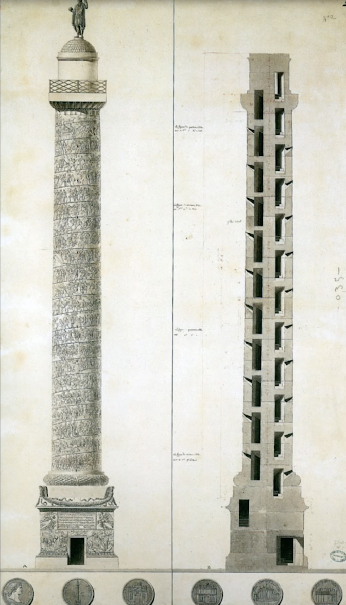 Trajan's Column, Measured Drawing; Charles Percier, 1788