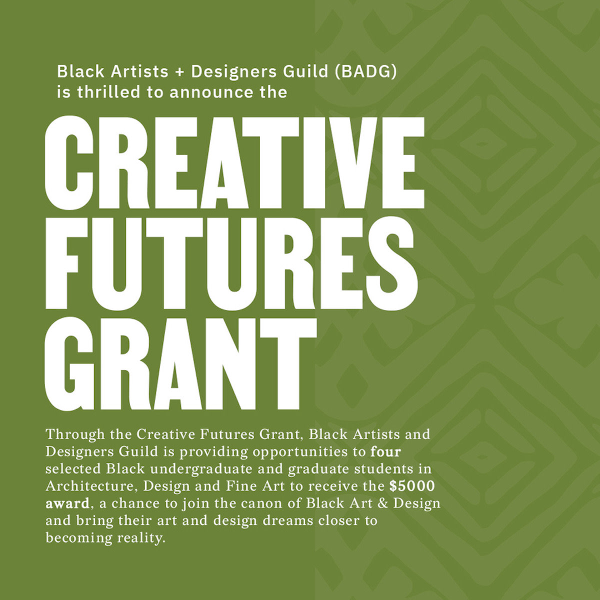 Creative Futures grant flyer.