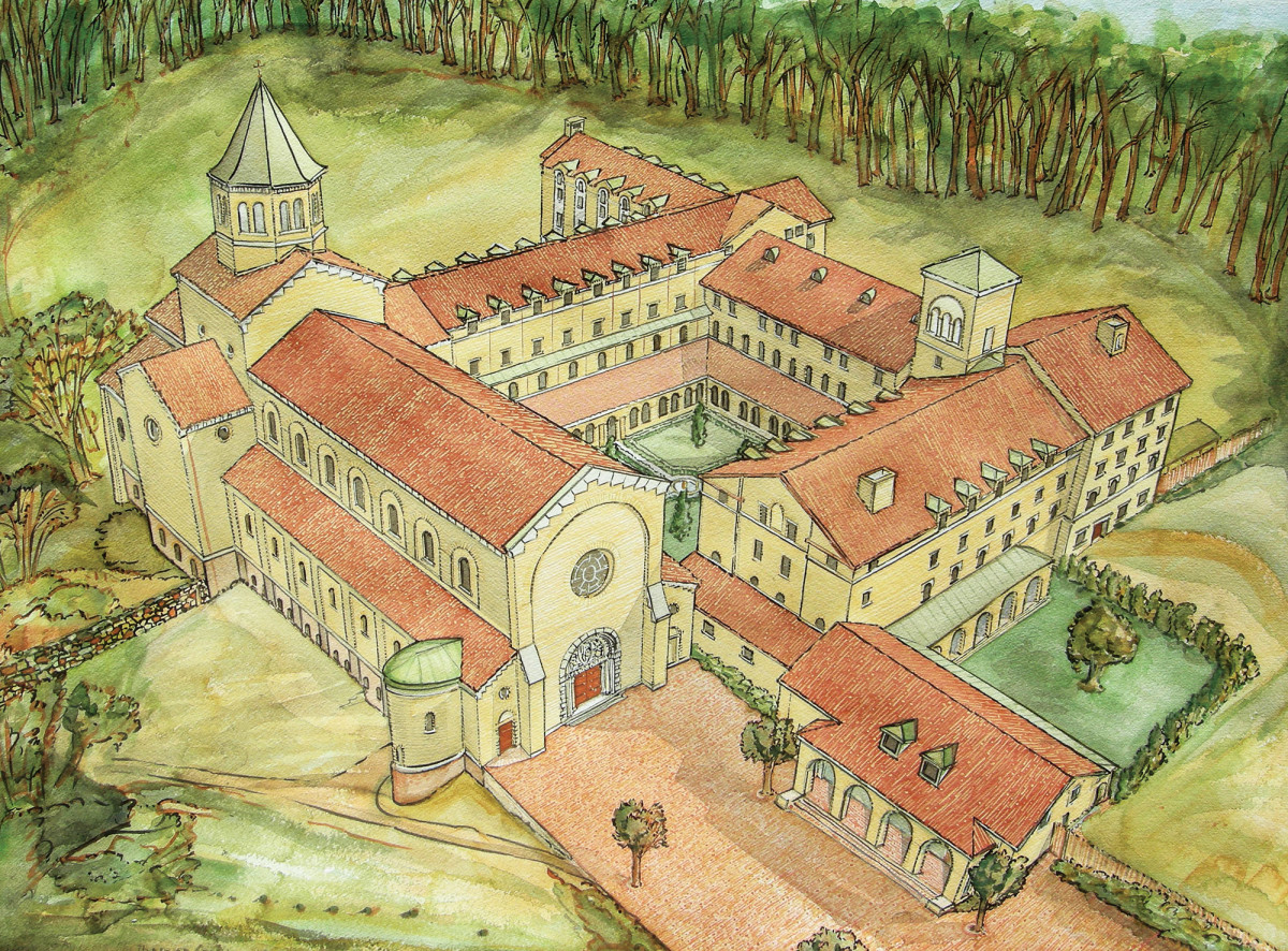Our Lady of the Annunciation Abbey watercolor